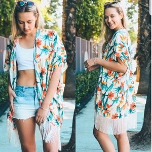 COMING SOON 🌸Tropical Flower Fringe Kimono